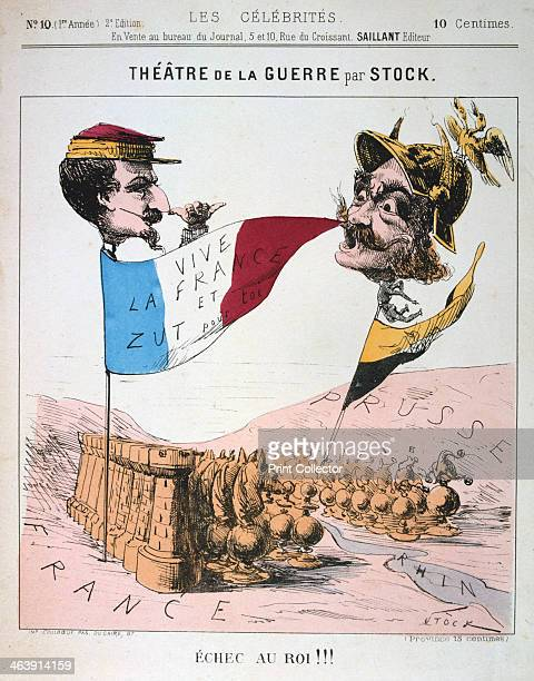 'Echec au Roi' FrancoPrussian War 18701871 Caricature of Napoleon III of France and Wilhelm I of Prussia from Les Celebrites From a private collection