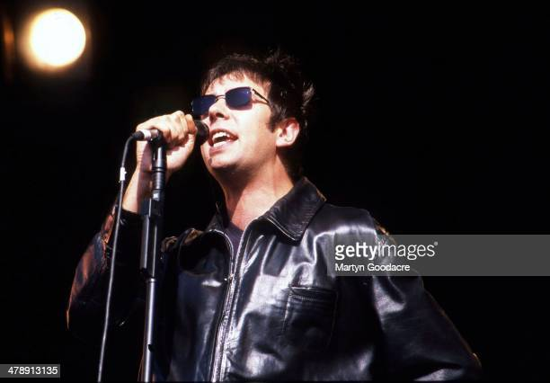 Echo And The Bunnymen vocalist Ian McCulloch performs on stage at Glastonbury Festival United Kingdom 1997