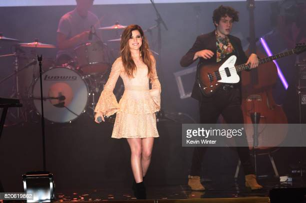 Echosmith featuring singer Sydney Sierota and guitarist Josh Murty performs onstage during MTV Fandom Fest at PETCO Park on July 21 2017 in San Diego...