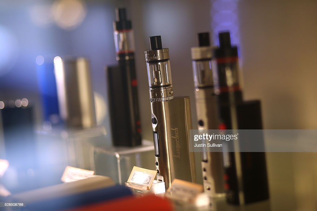 E-cigarettes are displayed at Gone With the Smoke Vapor Lounge on May 5, 2016 in San Francisco, California. The U.S. Food and Drug Administration announced new federal regulations on electronic cigarettes that will be the same as traditional tobacco cigarettes and chewing tobacco.