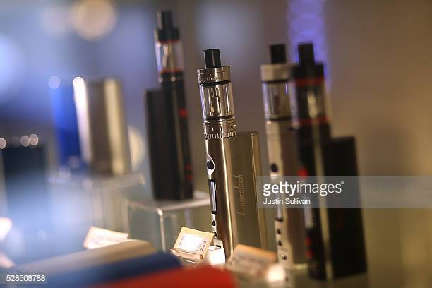 Ecigarettes are displayed at Gone With the Smoke Vapor Lounge on May 5 2016 in San Francisco California The US Food and Drug Administration announced...