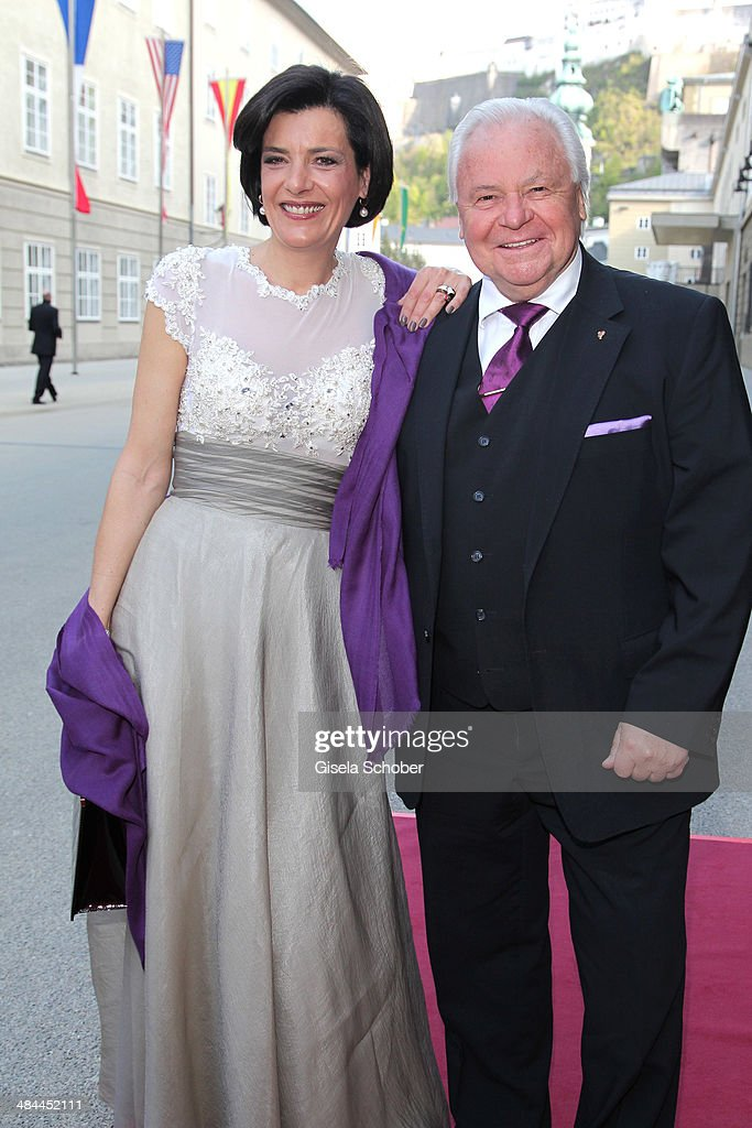 Eckart Witzigmann and his girlfriend Nicola Schnelldorfer attend the opening of the easter festival 2014 (Osterfestspiele) on April 12, 2014 in Salzburg, Austria.