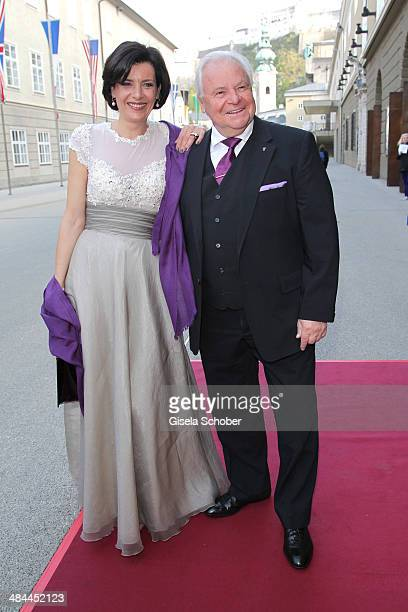 Eckart Witzigmann and his girlfriend Nicola Schnelldorfer attend the opening of the easter festival 2014 on April 12 2014 in Salzburg Austria