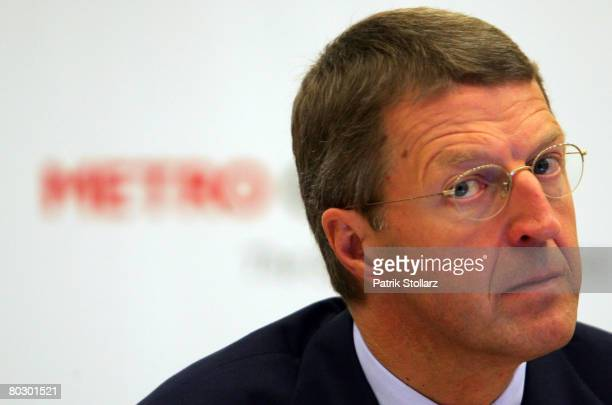 Eckhard Cordes CEO of Metro Group speaks during their 2007 results press conference on March 18 2008 in Duesseldorf Germany The Metro Group announced...
