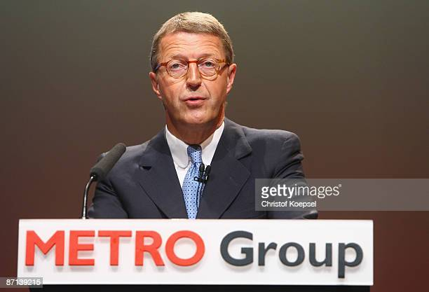 Eckhard Cordes chairman and CEO of Metro AG speaks at the annual results press conference of the Metro group at CCD Congress Center on May 13 2009 in...