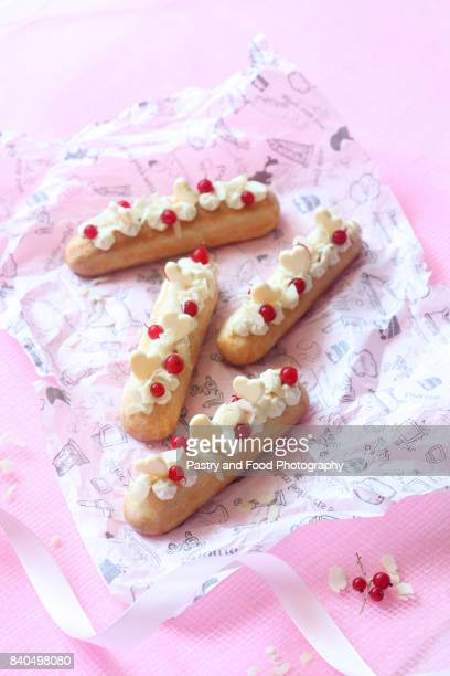 Eclairs with Vanilla Pastry Cream and Cream Cheese Filling