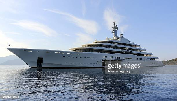 Eclipse the private luxury yacht of Russian billionaire Roman Abramovich anchors at Hisaronu Bay in Marmaris district of Mugla southwestern Turkey on...