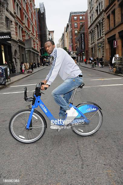 Eco friendly Pras Michel formerly of the Fugees rides a citi bike on October 22 2013 in New York United States