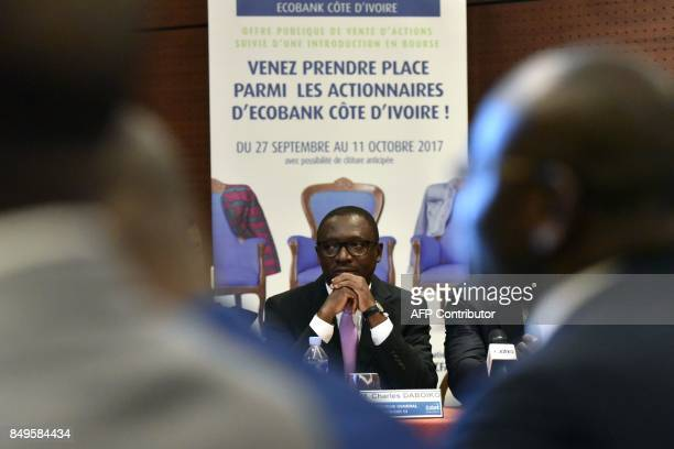 Ecobank Ivory Coast Chief Executive Officer Charles Daboiko speaks during a press conference on September 19 2017 in Abidjan EcobankIvory Coast the...