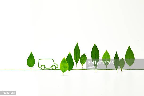 eco-car shaped   electric cord with standing leave