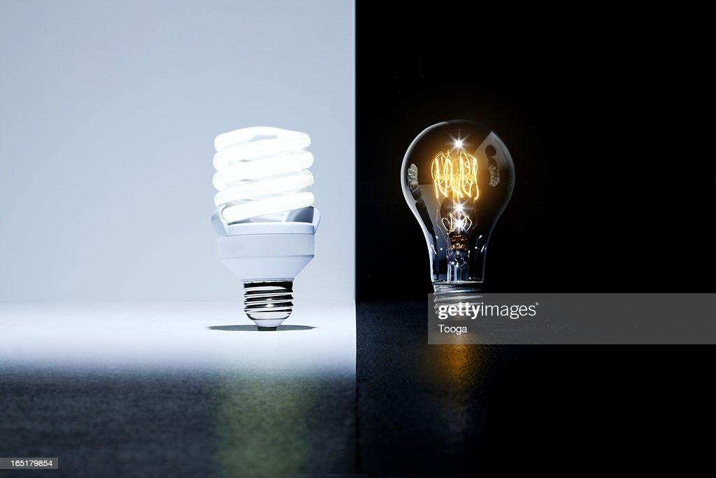 Eco-friendly light bulb vs. old light bulb