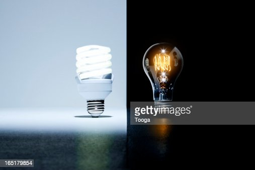Ecofriendly Light Bulb Vs Old Light Bulb Stock Photo Getty Images