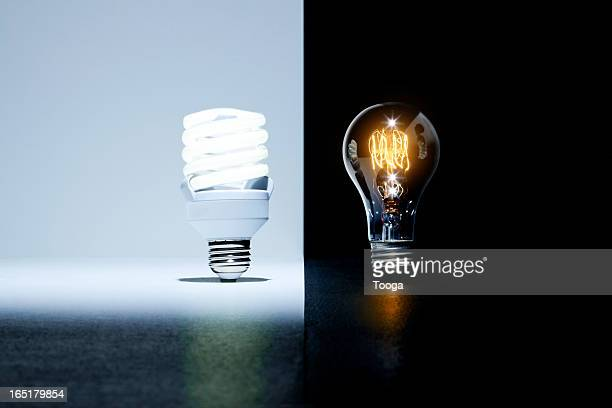 Eco-friendly light bulb vs. old light bulb