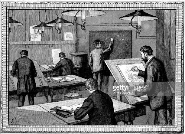 Ecole des PontsetChaussees Paris 1894 Civil engineering students at their studies in a classroom
