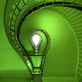 Ecological light bulb near staircase
