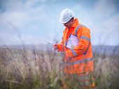 Ecologist at surface coal mine restoration collecting grass seeds