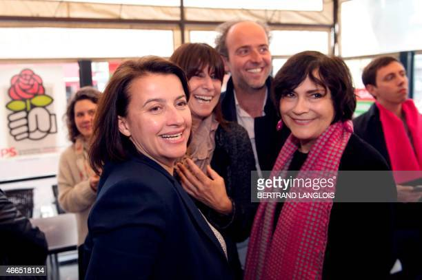 EELV ecologist party member of parliament and former minister Cecile Duflot and French former Minister MarieArlette Carlotti attend a meeting to...