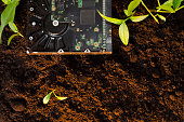 Ecology and technology concept/e-waste, technology becoming natural