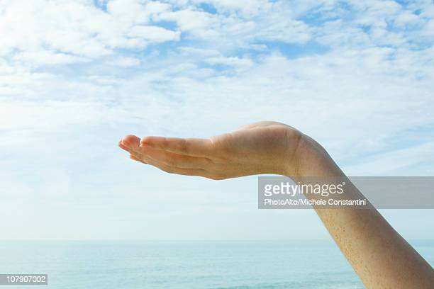 Ecology concept, cupped hand supporting the sky