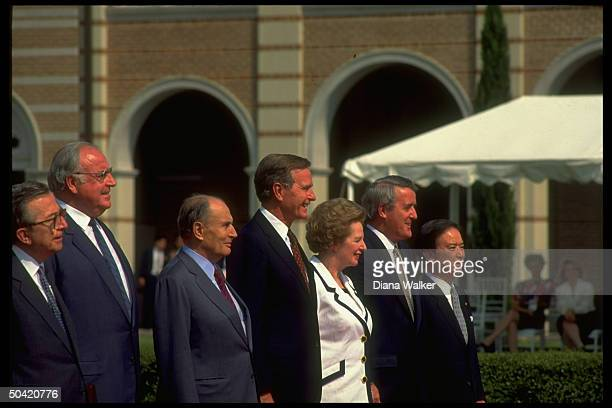 Econ Summit ldrs Kaifu Mulroney Thatcher Bush Mitterrand Kohl Andreotti during arrival ceremony at Rice Univ