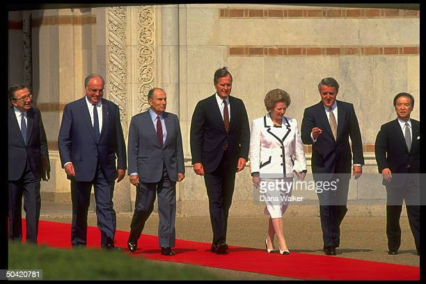 Econ Summit ldrs Kaifu Mulroney Thatcher Bush Mitterrand Kohl Andreotti during red carpet arrival fete at Rice Univ