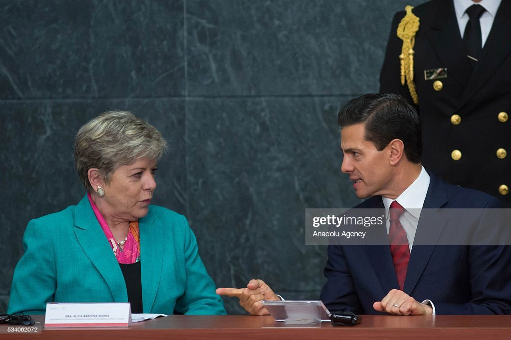 Economic Commission for Latin America and the Caribbean Executive Secretary Alicia Barcena (L) and President of Mexico Enrique Pena Nieto attend the opening ceremony of the Economic Commission for Latin America and the Caribbean (ECLAC), at Los Pinos presidential residence in Mexico City, Mexico on May 24, 2016. The 36th session of the commission is taking place in Mexico City from May 23-27.