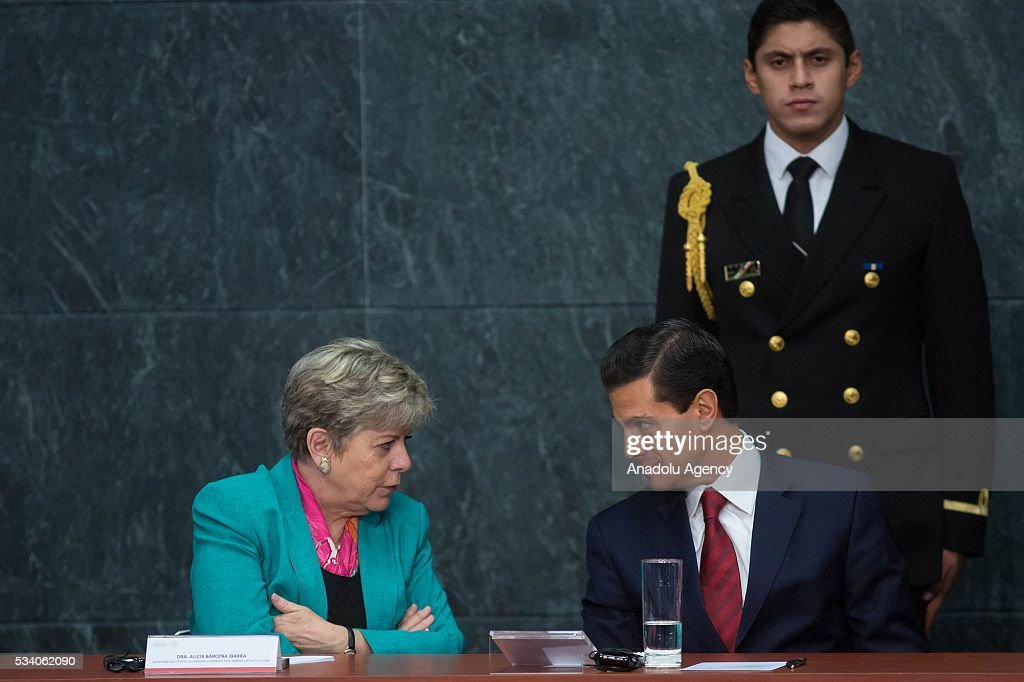 Economic Commission for Latin America and the Caribbean Executive Secretary Alicia Barcena (L) and President of Mexico Enrique Pena Nieto attend the opening ceremony of the Economic Commission for Latin America and the Caribbean (ECLAC), at Los Pinos presidential residence in Mexico City, Mexico on May 24, 2016. The 36th session of the commission is taking place in Mexico City from May 23-27