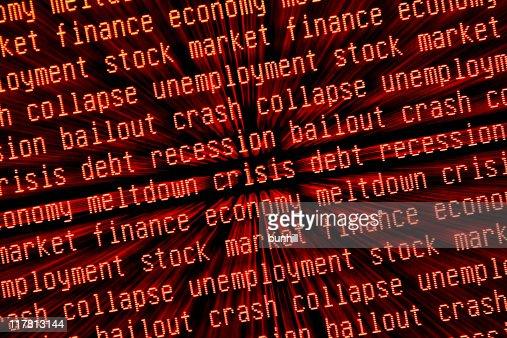 Crise económica-& recessão palavras-chave ampliada de
