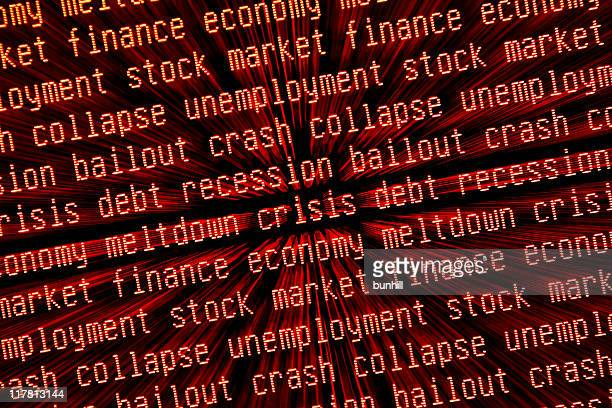 economic crisis - crash & recession keywords zoomed