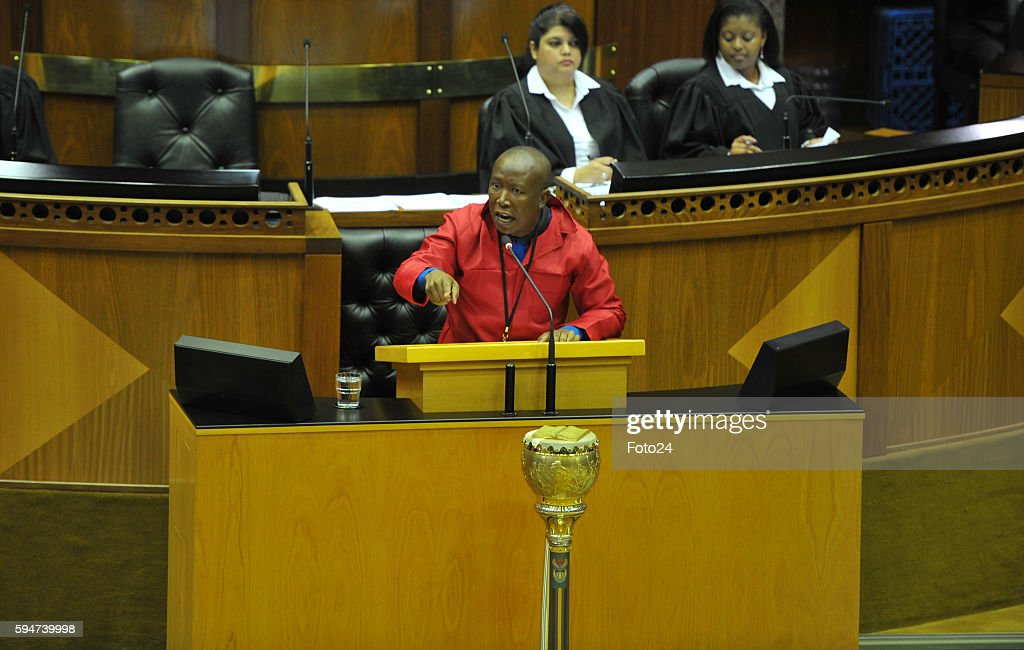 Economic Freedom Fighters leader Julius Malema speaks in Parliament during the municipal elections debate on August 23 2016 in Cape Town South Africa...