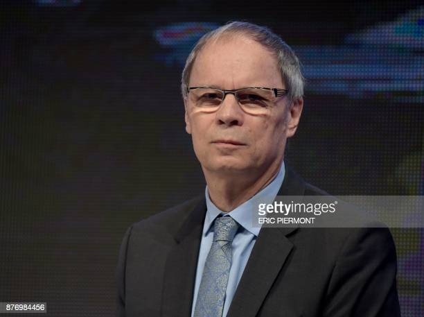 Economics Nobel Prize laureate Jean Tirole looks on during a conference on 'Technologic break and inequalities' at the Ministry of Economy in Paris...