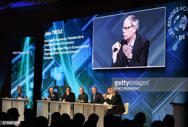 Economics Nobel Prize laureate Jean Tirole talks during a conference on 'Technologic break and inequalities' at the Ministry of Economy in Paris on...