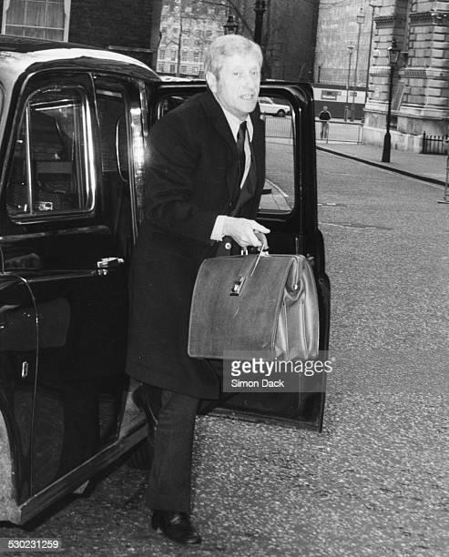 Economist Alan Walters getting out of a taxi at 10 Downing Street on his first day as advisor to Margaret Thatcher London January 6th 1981