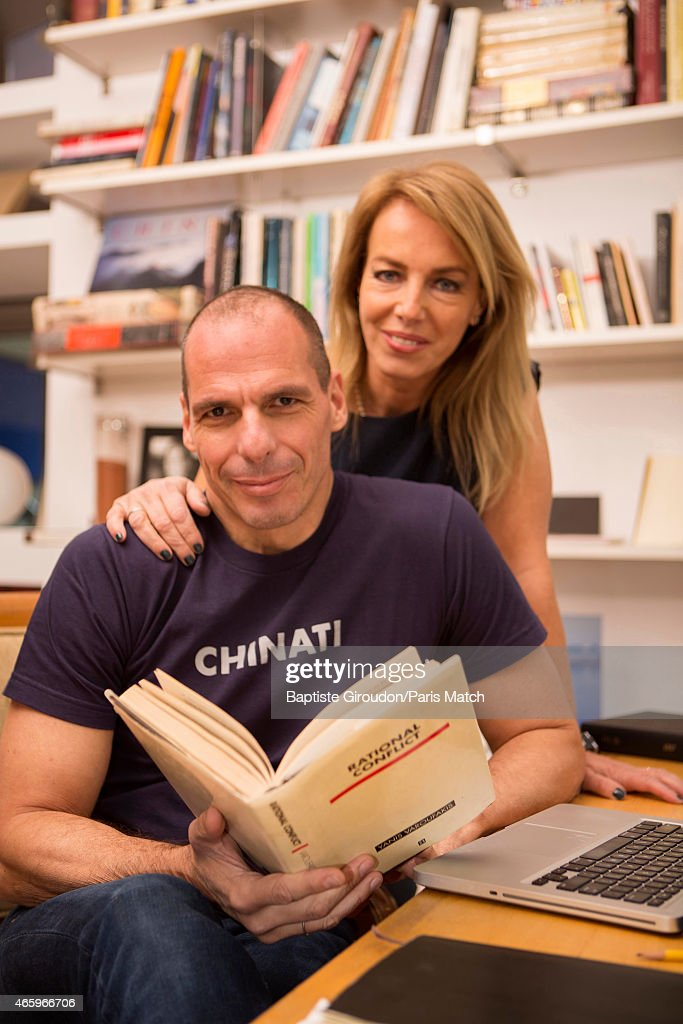 Economist and Finance Minister for the Greek government, <a gi-track='captionPersonalityLinkClicked' href=/galleries/search?phrase=Yanis+Varoufakis&family=editorial&specificpeople=13872964 ng-click='$event.stopPropagation()'>Yanis Varoufakis</a> is photographed at his home with his wife Danae Stratou a visual artist for Paris Match on March 8, 2015 in Athens, Greece.