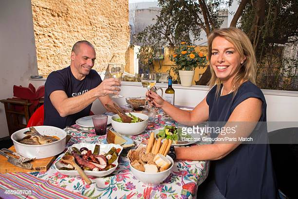 Economist and Finance Minister for the Greek government Yanis Varoufakis is photographed at his home with his wife Danae Stratou a visual artist for...