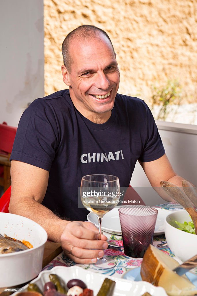 Economist and Finance Minister for the Greek government, <a gi-track='captionPersonalityLinkClicked' href=/galleries/search?phrase=Yanis+Varoufakis&family=editorial&specificpeople=13872964 ng-click='$event.stopPropagation()'>Yanis Varoufakis</a> is photographed at his home for Paris Match on March 8, 2015 in Athens, Greece.