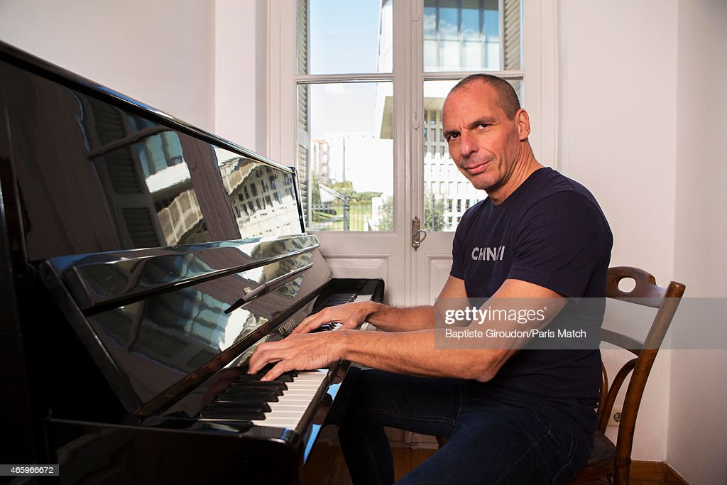 Economist and Finance Minister for the Greek government, <a gi-track='captionPersonalityLinkClicked' href=/galleries/search?phrase=Yanis+Varoufakis&family=editorial&specificpeople=13872964 ng-click='$event.stopPropagation()'>Yanis Varoufakis</a> is photographed for Paris Match on March 8, 2015 in Athens, Greece.