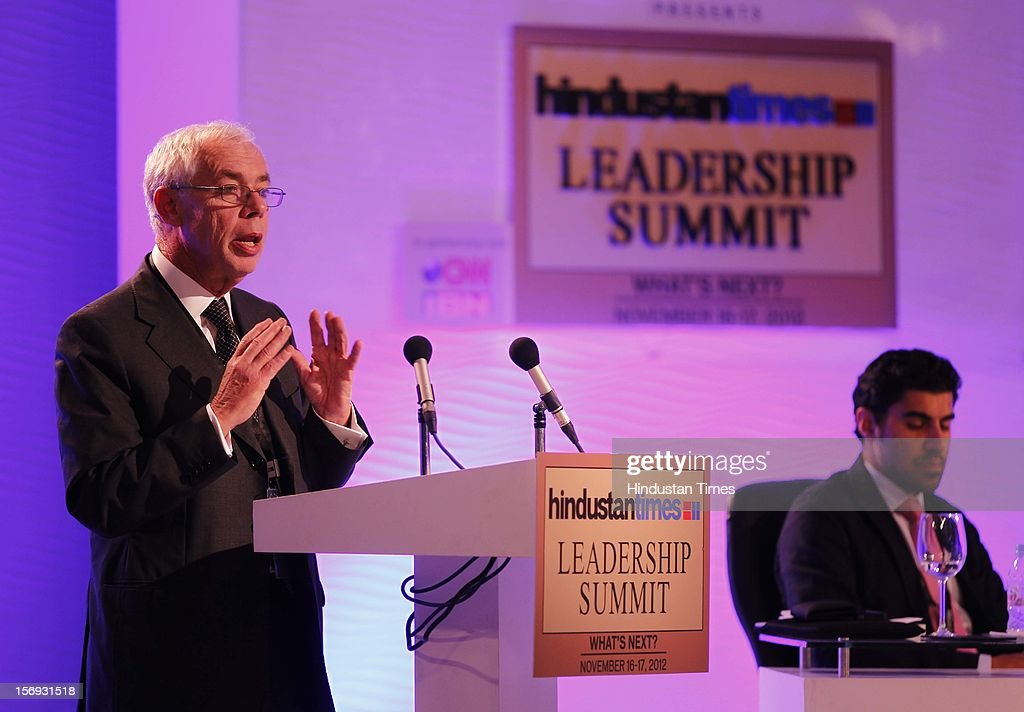 Economist Dr. John Kay addreses the gathering during the debate : The Future Of The Global Economy: Cause For Optimism Or Pessimisim? during the first day of the Hindustan Times Leadership Summit on November 16, 2012 in New Delhi, India.