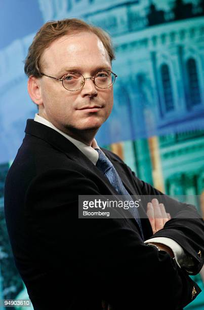 Economist Kevin Hassett poses on the set of Bloomberg Television in Washington DC July 23 2004