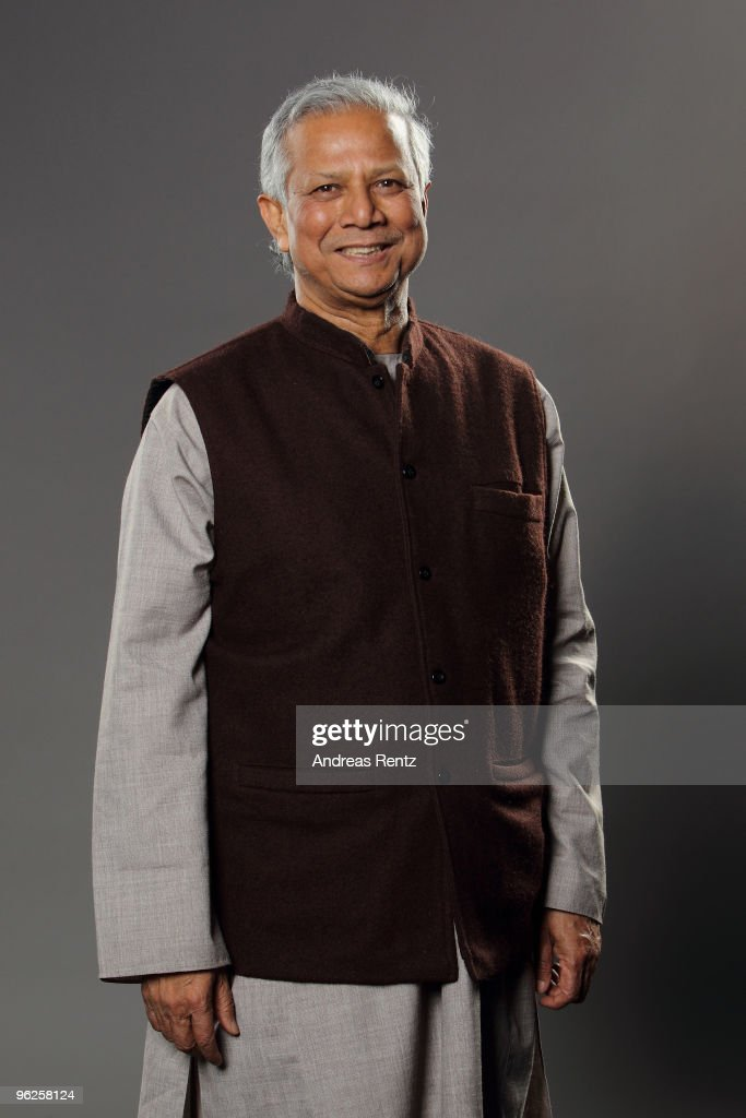 Economist <a gi-track='captionPersonalityLinkClicked' href=/galleries/search?phrase=Muhammad+Yunus&family=editorial&specificpeople=634405 ng-click='$event.stopPropagation()'>Muhammad Yunus</a> of Grameen Bank poses during a portrait session at the Digital Life Design (DLD) conference at HVB Forum on January 26, 2010 in Munich, Germany. DLD brings together global leaders and creators from the digital world.