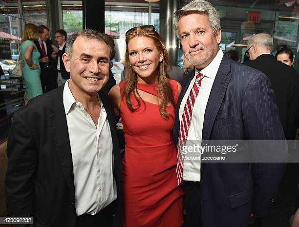 Economist Nouriel Roubini anchorwoman Trish Regan and Bill Shine attend the book party for Bremmer's book 'Superpower Three Choices For America's...