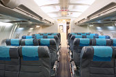 Economy Class Seating Inside An Airplane Cabin