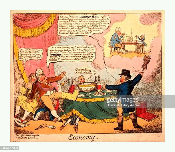 Economy Cruikshank George 17921878 Artist London Engraving 1816 Brougham In The Guise Of John Bull Appears To The Regent Holding Up A Broom Which...