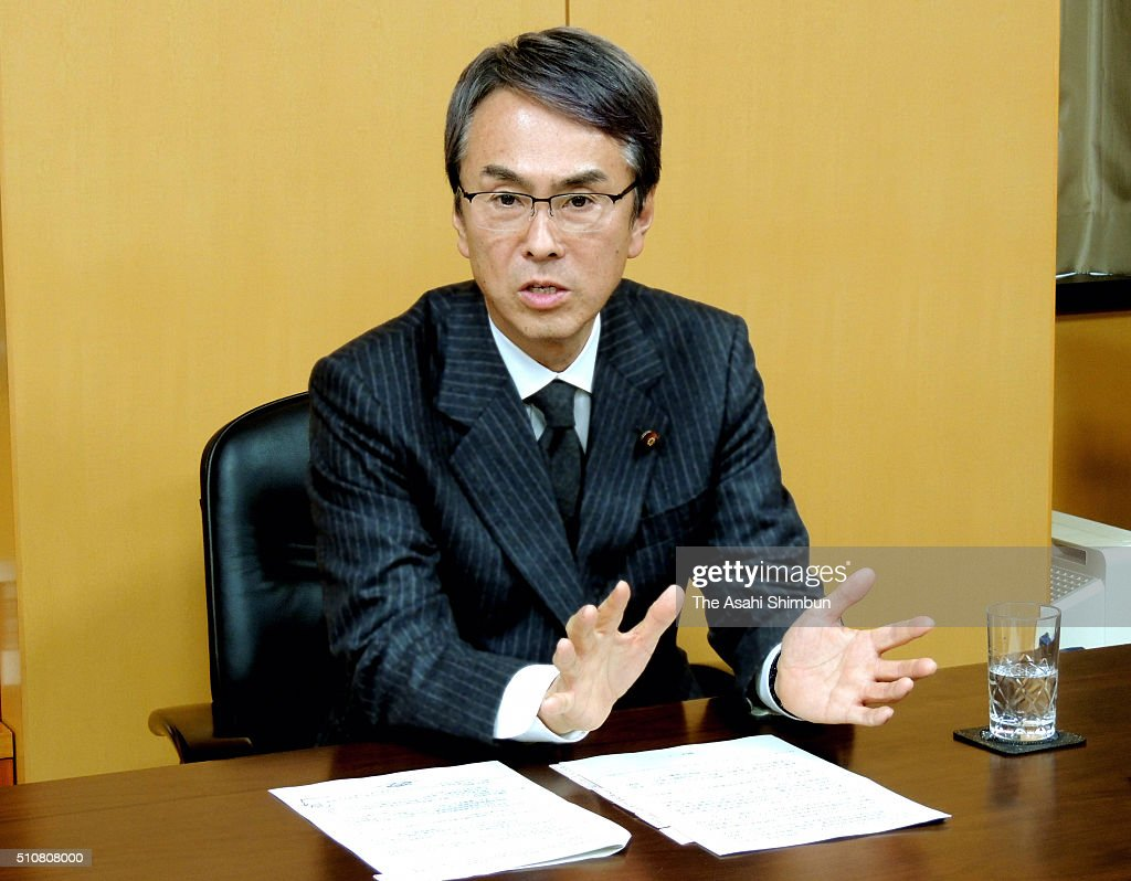 Economy Revitalization Minister <a gi-track='captionPersonalityLinkClicked' href=/galleries/search?phrase=Nobuteru+Ishihara&family=editorial&specificpeople=2258645 ng-click='$event.stopPropagation()'>Nobuteru Ishihara</a> speask during the Asahi Shimbun interview on February 17, 2016 in Tokyo, Japan.