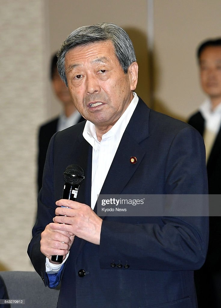 Economy, Trade and Industry Minister Motoo Hayashi speaks at a meeting in Tokyo on June 27, 2016, between senior officials of the industry ministry and major Japanese companies with operations in Britain following Britain's decision in a referendum to leave the European Union.