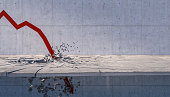 3d rendering of red financial arrows broke concrete floor