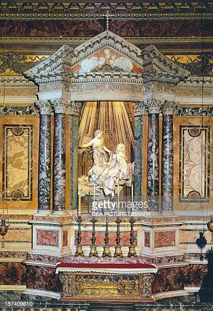 Ecstasy of St Teresa of Avila 16471652 gilt bronze and marble sculpture by Gian Lorenzo Bernini Cornaro Chapel Church of Santa Maria della Vittoria...