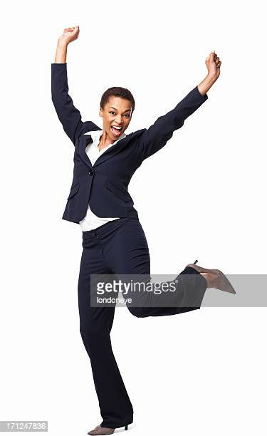 Ecstatic African American Female Executive - Isolated