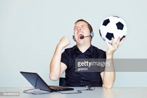 Ecstatic football commentator
