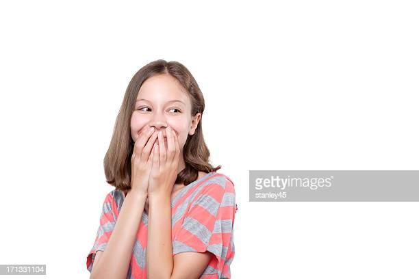 Estatico giovane ragazza felice e sorpresa
